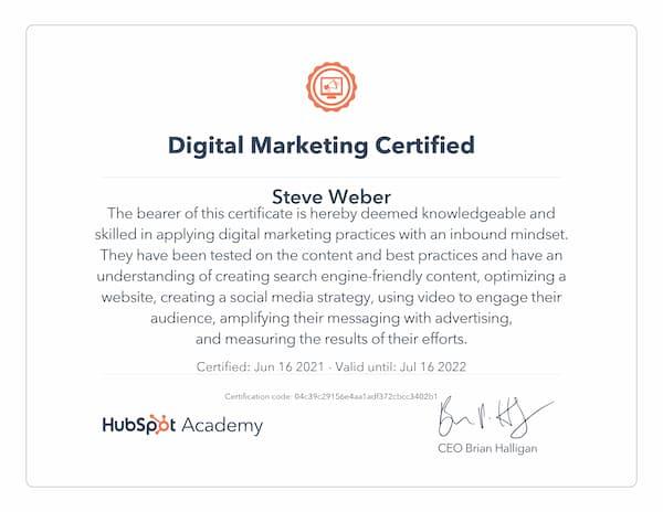 Week 180: Hubspot Digital Marketing Certificate