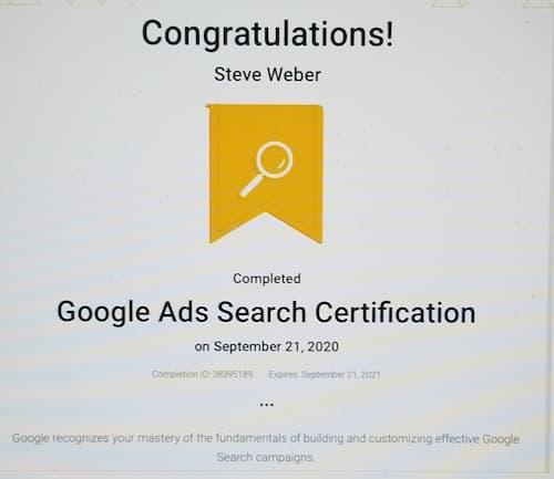 Week 141: Google Ads Search Certification