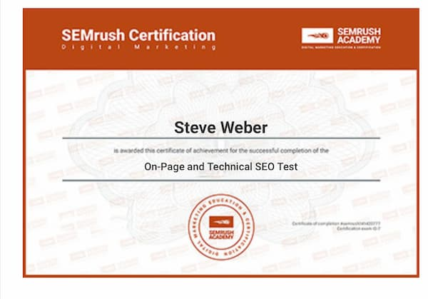 Week 150: SEMrush SEO Fundamentals Certificate