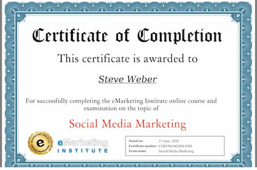 Week 127: eMarketing Institute Social Media Marketing Certification