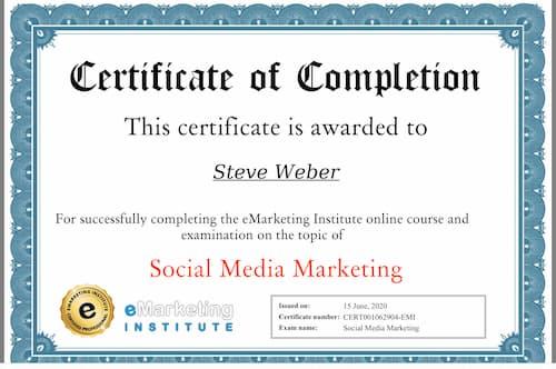 Week 127: eMarketing Institute Social Media Marketing Certification