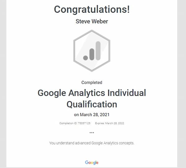 Week 170: Google Analytics IQ Certification 2021