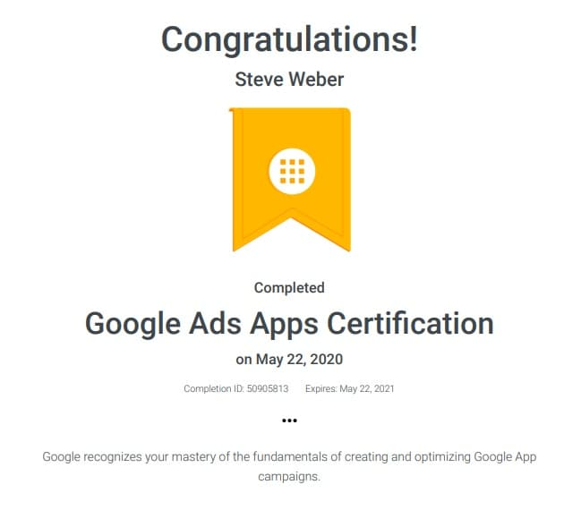 Week 124: Google Ads Apps Certification
