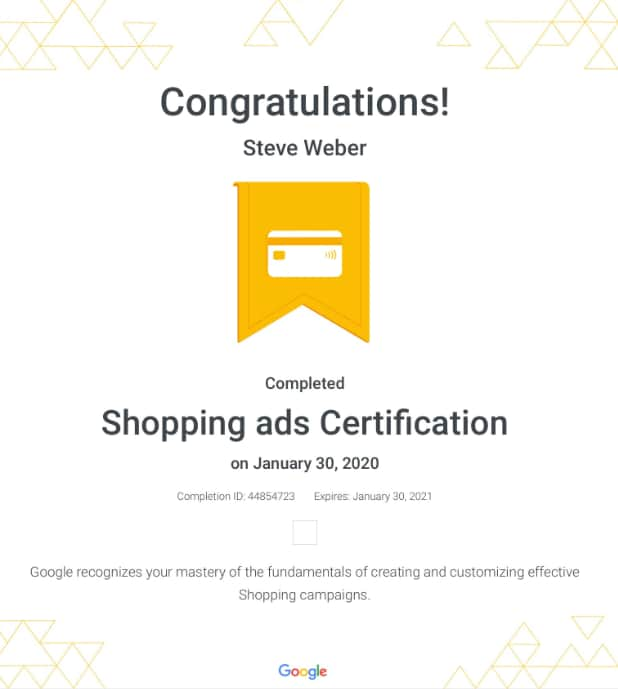 Week 109: Google Shopping Ads Certification 2020