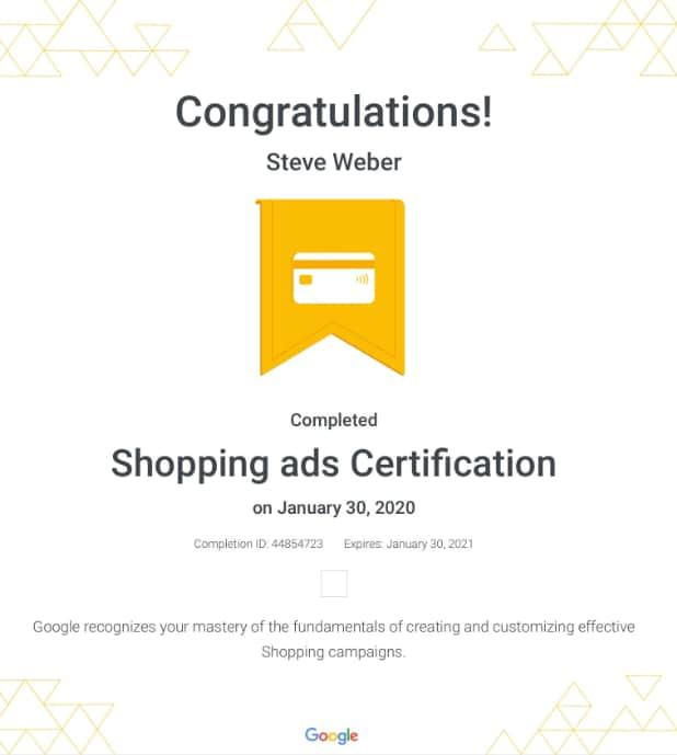 Week 109: Google Shopping Ads Certification 2020