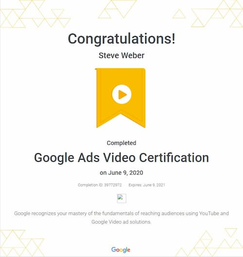 Week 126: Google Ads Video Certification