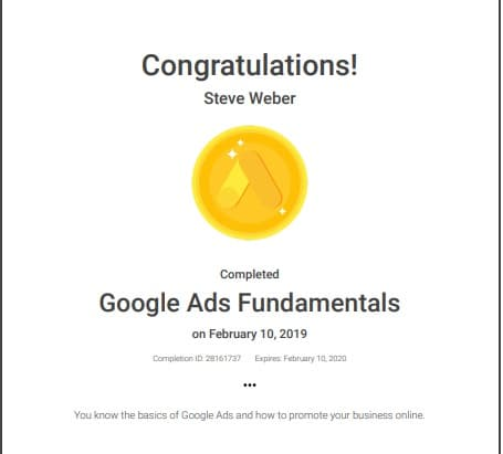 Google Ads Fundamentals Certificate