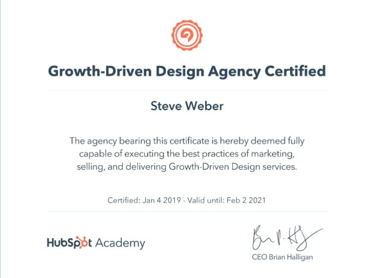 Growth driven design agency certificate