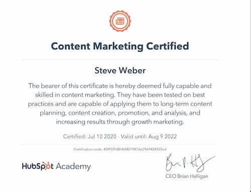 Week 130: Hubspot Content Marketing Certification