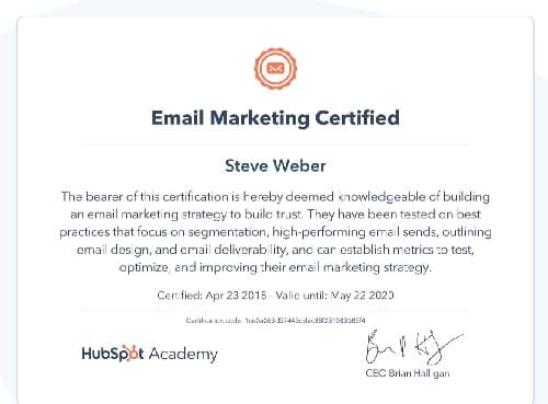 Week 123: Hubspot Email Marketing Certification 2020