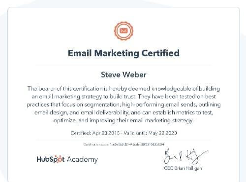 Week 123: Hubspot Email Marketing Certification 2020