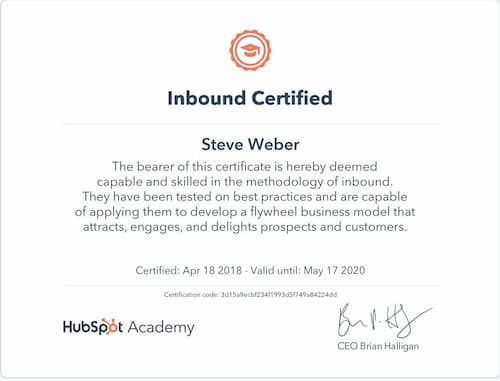Week 122: Hubspot Inbound Certification 2020