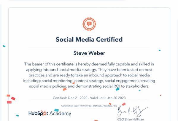 Week 155: Hubspot Social Media Certification
