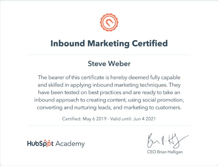 Week 75: Hubspot Inbound Marketing Certification