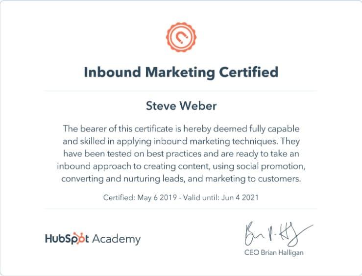 Week 75: Hubspot Inbound Marketing Certification
