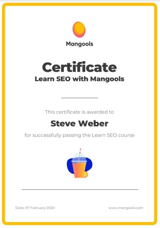Week 112:Mangools SEO Certificate