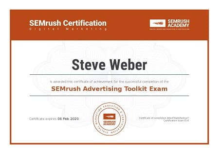 SEMrush Academy Advertising Toolkit Certification