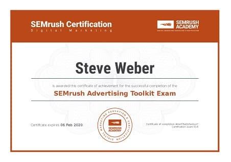 SEMrush Academy Advertising Toolkit Certification