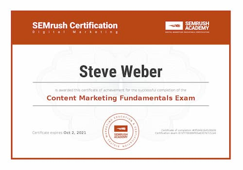 Week 142: SEMRush Content Marketing Fundamentals