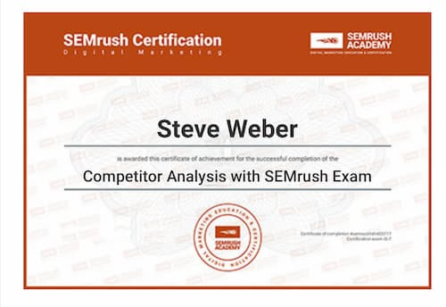 Week 136: SEMRush Competitor Analysis Certificate