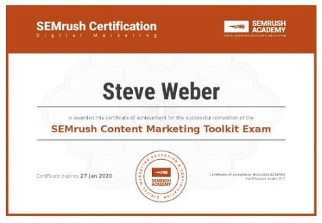 SEMrush Content Marketing Toolkit Certification
