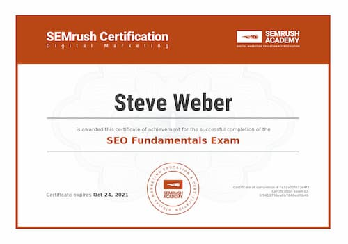 Week 147: SEMrush SEO Fundamentals Certificate