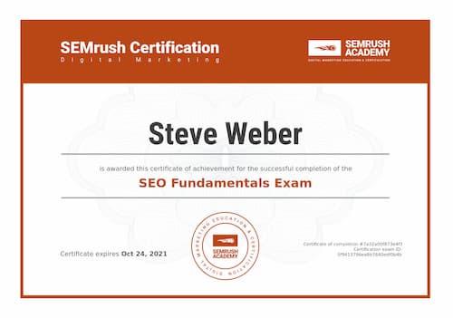 Week 147: SEMrush SEO Fundamentals Certificate