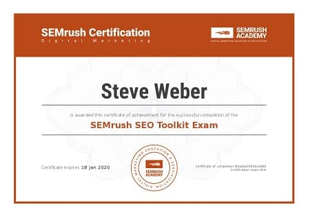 SEMrush SEO Toolkit Certification