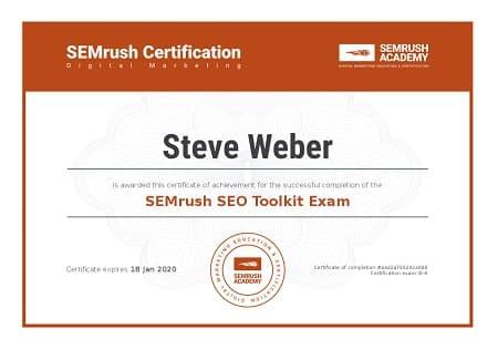SEMrush SEO Toolkit Certification