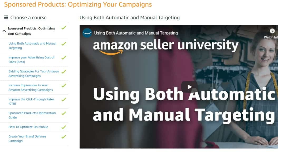 Amazon sellercentral course screenshot of sponsored product ads