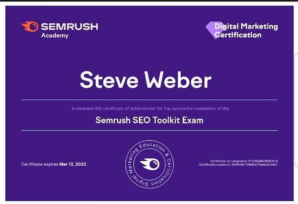 Week 166: SEMrush SEO Toolkit Exam 2021