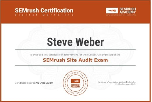 Week 86: SEMRush Site Audit Course and Exam