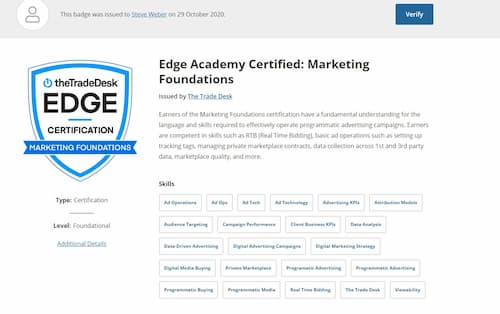 Week 146: The Trade Desk: Marketing Foundations Certification