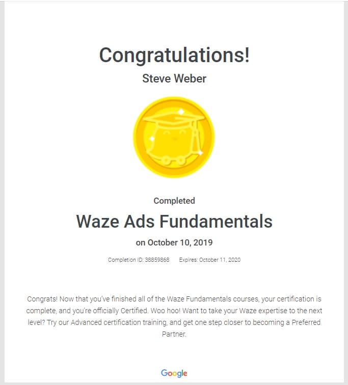 Week 92: Waze Fundamentals Certification 2019