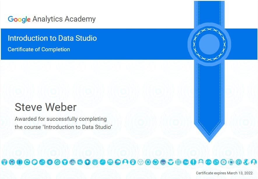 Intro to Google data studio certificate