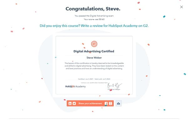 Week 178: Hubspot Digital Advertising Certificate