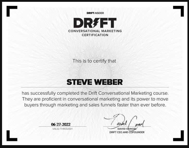 Week 182: Drift Conversational Marketing Certification