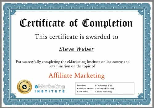 Week 105: eMarketing Affiliate Marketing Certification