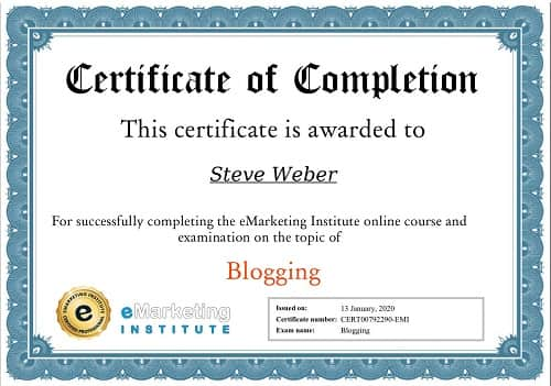 Week 108: eMarketing Institute Blogging Certification