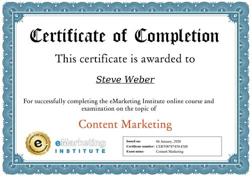 Week 104: eMarketing Content Marketing Certification