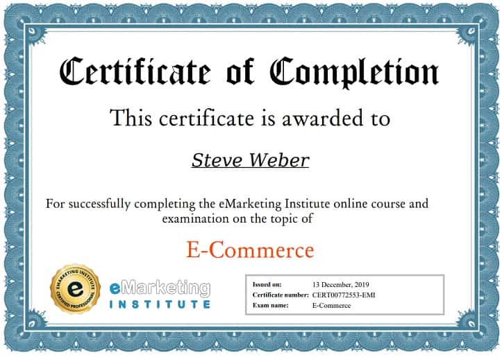 Week 102: eMarketing ECommerce Certification