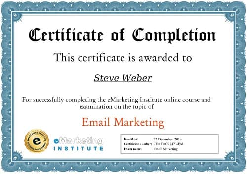 Week 103: eMarketing E-Mail Marketing Certification