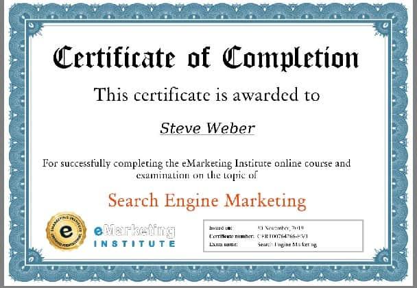 Week 101: eMarketing Search Engine Marketing Certification