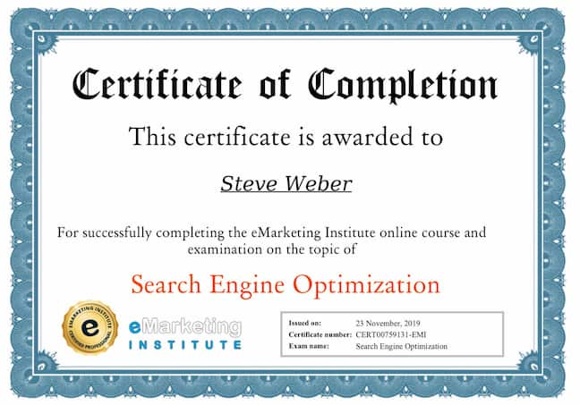 Week 98: eMarketing Institute SEO Certification Course
