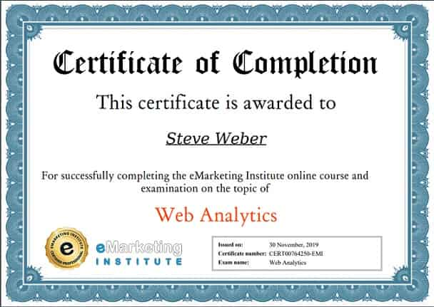 Week 100: eMarketing Institute Web Analytics Certification