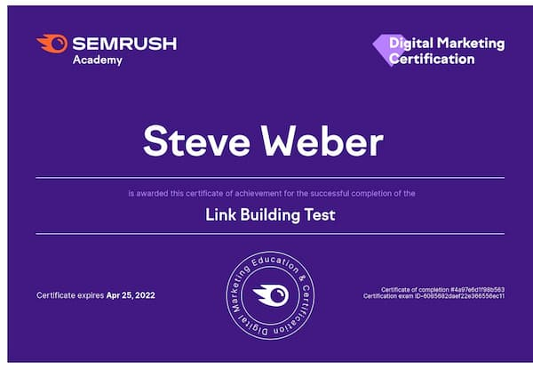 Week 171: SEMRush Linkbuilding Exam 2021