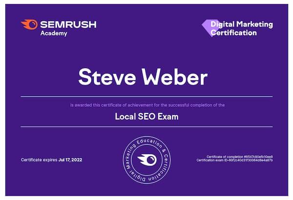 Week 184: SEMrush Local SEO Exam