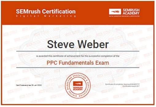 Semrush PPC Fundamentals 2019 Certificate