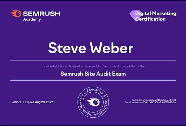 Week 190:  Semrush Site Audit Certification