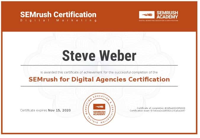 Week 99: SEMrush for Digital Agencies Certification